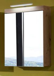 Badezimmer Spiegelschrank Amanda Eiche Asteiche 2-türig 60 x 77 cm optional mit LED Spiegellampe