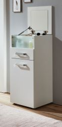 Schminkkommode Rimini in weiß mit Klappe und integriertem Spiegel (35 x 87 cm)