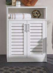 Badezimmer Kommode Olsen in weiß mit Lamellentüren Bad Unterschrank 60 x 89 cm