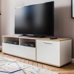 TV-Lowboard Up in weiß und Sonoma Eiche hell sägerau TV-Unterteil 160 x 45 cm Fernsehschrank