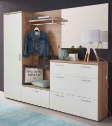 Garderobe Bravo komplett Set 5-teilig in weiß und Sonoma Eiche sägerau hell Garderobenset 216 x 200 cm