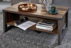Couchtisch Prime in Old Used Wood Design mit Matera grau Wohnzimmertisch mit Ablage Shabby 110 x 65 cm