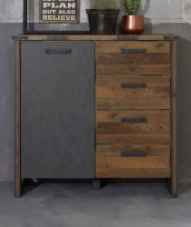 Kommode Prime in Old Used Wood Design mit Matera grau Anrichte Shabby 119 x 110 cm