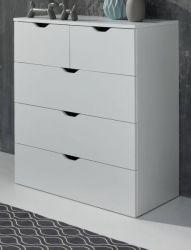 Schubkastenkommode Basix weiß 80 x 101 cm mit 5 Schubkästen