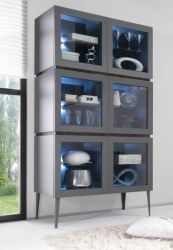 Highboard Vitrine anthrazit matt lackiert Italien Sovana42 LAGERWARE
