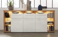 Sideboard Odino in Hochglanz weiß und Asteiche / Eiche Anrichte 210 x 98 cm Kommode