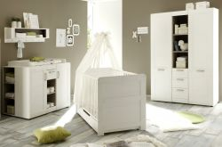 Babyzimmer komplett Set Landi weiß Pinie 6-teilig inkl. Bettschubkasten und 2x Regal