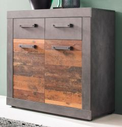 Kommode Indy in Used Wood Shabby mit Matera grau 82 x 86 cm