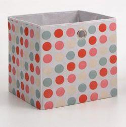 Faltbox mit Punkten in rosa Aufbewahrungsbox Stoffbox 32 x 32 cm Klappbox Sammelbox
