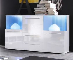 Sideboard weiß Glanz inkl. LED Beleuchtung Farbwechsel Kommode Punch