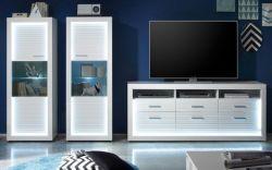 Wohnwand Starlight weiß Hochglanz mit Rillenoptik inklusive LED-Beleuchtung Schrankwand 320 cm