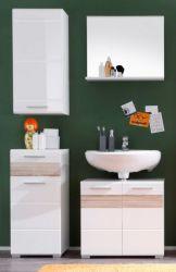 Badezimmer Set Badmöbel Mezzo weiß Hochglanz mit Eiche hell 4-teilig