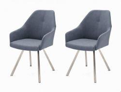 2 x Stuhl Madita in Graublau Kunstleder und Edelstahl 4-Fuß eckig Esszimmerstuhl 2er Set Armlehnenstuhl Schalenstuhl