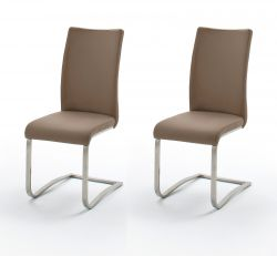 2 x Stuhl Arco in Cappuccino Leder und Edelstahl Freischwinger Flachrohr Esszimmerstuhl 2er Set