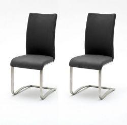 2 x Stuhl Arco in Grau Vintage Kunstleder und Edelstahl Freischwinger Flachrohr Esszimmerstuhl 2er Set Antiklook