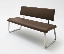 Sitzbank Arco in Braun Kunstleder und Edelstahl Flachrohr Küchenbank mit Kufengestell Polsterbank 155 cm