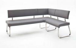 Eckbank Arco in Grau Leder und Edelstahl Flachrohr Küchenbank mit Kufengestell Sitzbank 200 x 150 cm