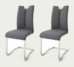 2 x Stuhl Artos in Grau Kunstleder und Edelstahl Freischwinger mit Griffloch Flachrohr Esszimmerstuhl 2er Set