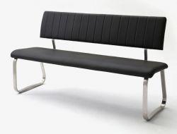 Sitzbank Viano in Schwarz Kunstleder und Edelstahl Flachrohr Küchenbank mit Kufengestell Polsterbank 155 cm