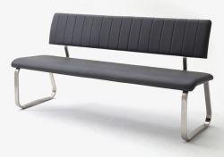 Sitzbank Viano in Grau Kunstleder und Edelstahl Flachrohr Küchenbank mit Kufengestell Polsterbank 175 cm