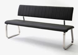Sitzbank Viano in Schwarz Kunstleder und Edelstahl Flachrohr Küchenbank mit Kufengestell Polsterbank 175 cm