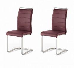 2 x Stuhl Pescara in Bordeaux Kunstleder und Edelstahl Freischwinger mit Griffleiste Flachrohr Esszimmerstuhl 2er Set