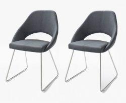2 x Stuhl Dajana in Graublau Kunstleder und Edelstahl Kufenstuhl Esszimmerstuhl 2er Set