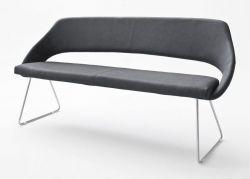 Sitzbank Dajana in Anthrazit Kunstleder und Edelstahl Küchenbank mit Kufengestell Polsterbank 180 cm