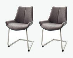 2 x Stuhl Danita in Grau Vintage Kunstleder und Edelstahl Freischwinger Esszimmerstuhl 2er Set Schalenstuhl