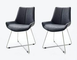 2 x Stuhl Danita in Anthrazit Vintage Kunstleder und Edelstahl X-Kufen Gestell Esszimmerstuhl 2er Set Schalenstuhl