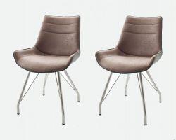 2 x Stuhl Danita in Cappuccino Vintage Kunstleder und Edelstahl 4-Fuß Gestell Esszimmerstuhl 2er Set Schalenstuhl