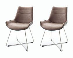 2 x Stuhl Danita in Cappuccino Vintage Kunstleder und Edelstahl X-Kufen Gestell Esszimmerstuhl 2er Set Schalenstuhl