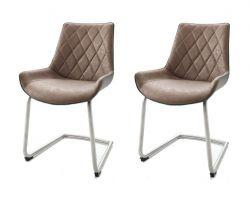 2 x Stuhl Danita in Cappuccino Vintage Kunstleder und Edelstahl Freischwinger Esszimmerstuhl 2er Set Schalenstuhl
