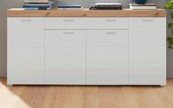Sideboard Amanda Hochglanz weiß und Eiche Asteiche Kommode 171 x 87 cm Anrichte