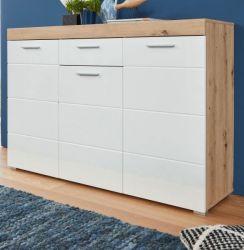 Sideboard Amanda Hochglanz weiß und Eiche Asteiche Kommode 137 x 87 cm Anrichte