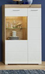 Highboard Amanda in Hochglanz weiß und Eiche Asteiche Vitrine 80 x 134 cm Kommode