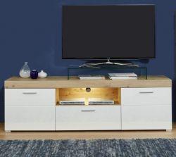 TV-Lowboard Amanda in Hochglanz weiß und Eiche Asteiche TV-Unterteil 182 x 56 cm Fernsehtisch