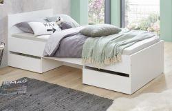 Kinder- und Jugendzimmer Bett Sugar in weiß mit 2 Auszügen Singlebett Liegefläche 90 x 200 cm
