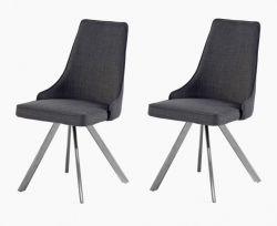 2 x Stuhl Elara in Grau Feingewebe und Edelstahl 4-Fuß drehbar Ovalrohr Esszimmerstuhl 2er Set