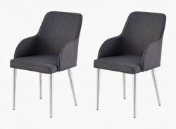 2 x Stuhl Elara in Grau Feingewebe und Edelstahl 4-Fuß konisch Rundrohr Esszimmerstuhl 2er Set mit Armlehne