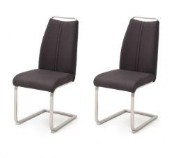 2 x Stuhl Giulia in Anthrazit Leder und Edelstahl Freischwinger mit Griffleiste Flachrohr Esszimmerstuhl 2er Set