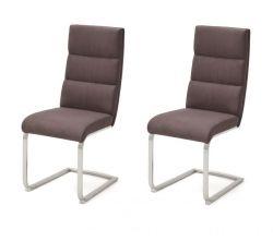 2 x Stuhl Giulia in Braun Nubuklederoptik und Edelstahl Freischwinger mit Griff hinten Flachrohr Esszimmerstuhl 2er Set
