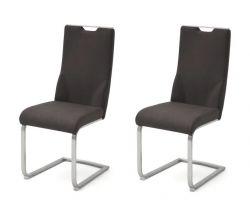 2 x Stuhl Giulia in Anthrazit Nubuklederoptik und Edelstahl Freischwinger mit Griffloch Flachrohr Esszimmerstuhl 2er Set