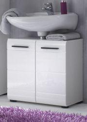 Waschbeckenunterschrank Badmöbel Skin Hochglanz weiß