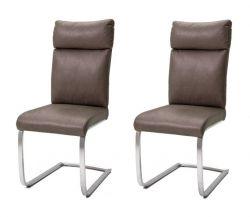 2 x Stuhl Rabea in Braun Vintage Lederlook und Edelstahl Freischwinger mit Griff hinten Esszimmerstuhl 2er Set