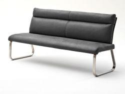 Sitzbank Rabea in Grau Vintage Lederlook und Edelstahl Flachrohr Küchenbank mit Kufengestell Polsterbank 180 cm