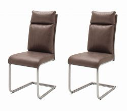 2 x Stuhl Pia in Braun Vintage Lederlook und Edelstahl Freischwinger mit Griff hinten Esszimmerstuhl 2er Set