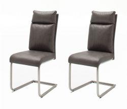 2 x Stuhl Pia in Grau Vintage Lederlook und Edelstahl Freischwinger mit Griff hinten Esszimmerstuhl 2er Set