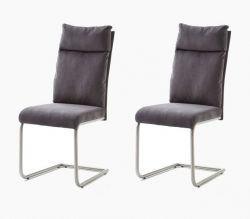 2 x Stuhl Pia in Anthrazit Chenille-Optik und Edelstahl Freischwinger mit Griff hinten Esszimmerstuhl 2er Set