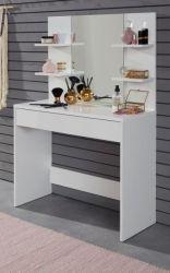 Schminktisch Basix in weiß 85 x 140 cm mit Schublade und Spiegel